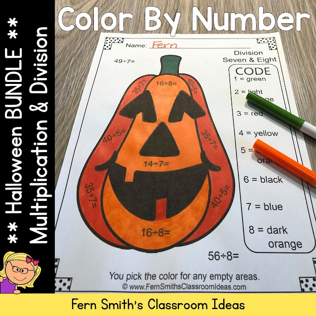 Halloween Color By Number Multiplication and Division Bundle