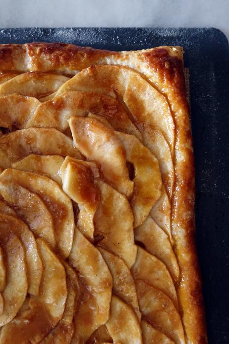 close up of apple mosaic tart