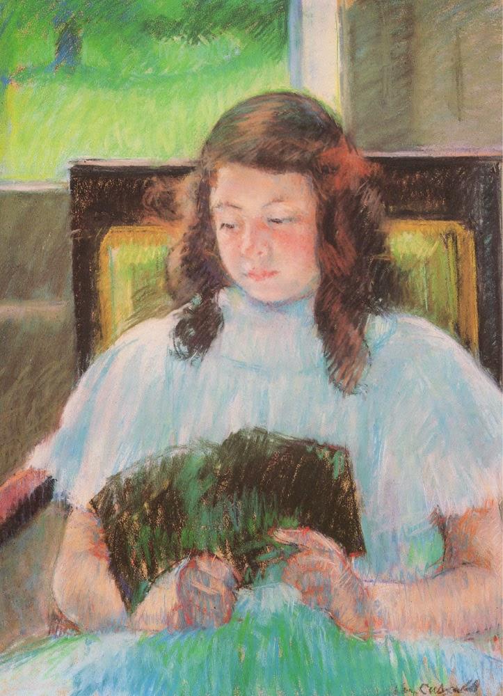 Leitura da Menina Jovem - Pinturas de Mary Cassatt | Mulheres na pintura