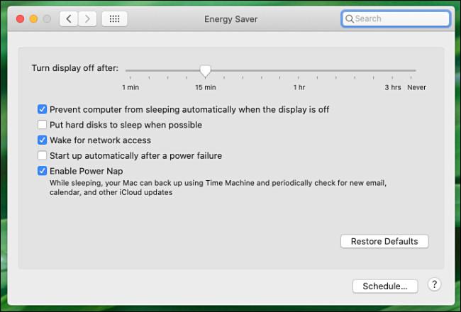 جزء تفضيلات توفير الطاقة لنظام Mac