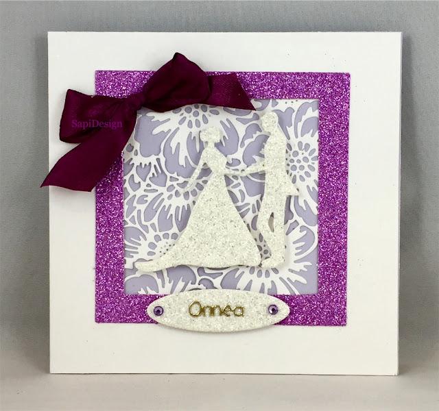 violet wedding card couple bow SapiDesign