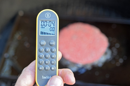Using a Thermoworks Time Stick for timing my burgers.