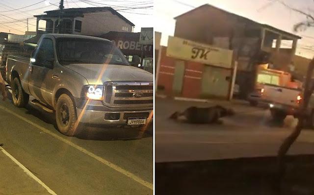 VÍDEO: Jumento é amarrado em caminhonete e arrastado por rua de Barreiras