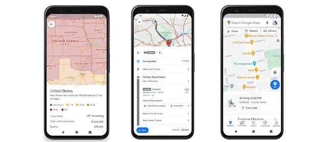 تحديث خرائط Google يعرض إرشادات وقيود COVID ، و طلب الطعام