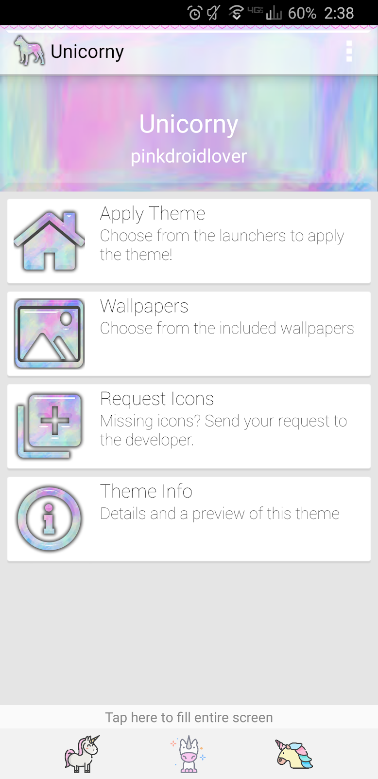PinkDroidLover: Unicorny Icon Pack with 4 walls included