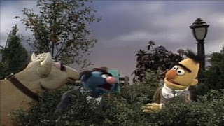 at the park Bert hears Simon Soundman practices tuba. Bert ends up attracting Gladys the Cow. Sesame Street Let's Make Music