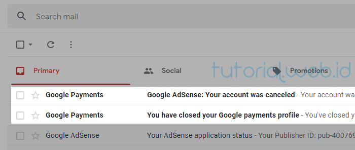 Cara Menghapus Akun Adsense pada gmail 6 Cek email