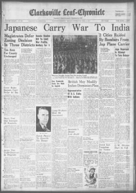 Clarksville, TN Leaf-Chronicle 6 April 1942 worldwartwo.filminspector.com