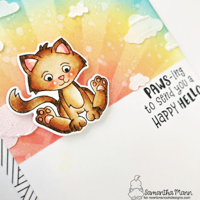 Pawsing to Send a Happy Hello Card by Samantha Mann for Newton's Nook Designs, Distress Inks, Ink Blending, Stenci, Cardmaking, Cards, Handmade Cards, #newtonsnook #newtonsnookdesigns #distressinks #inkblending #cardmaking