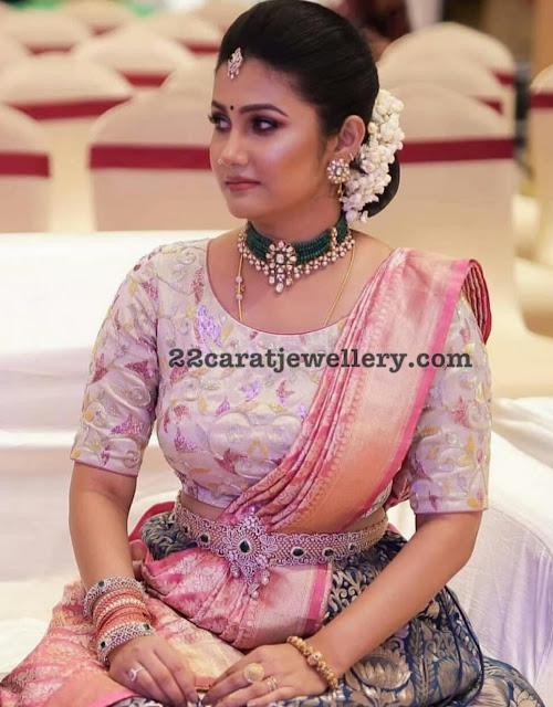 Bride in Emerald Choker Diamond Vaddanam