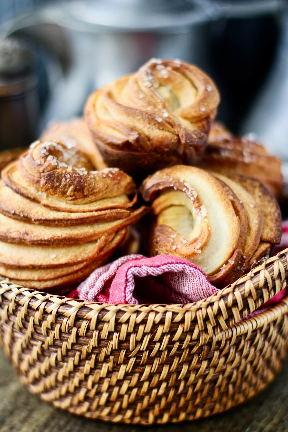 Cruffins (Easy Croissant Muffins) in a basket.