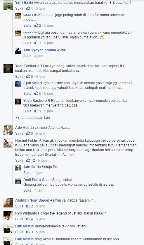 Berbagai Tanggapan Natizen Terkait dengan Informasi Terkini Mengenai Ustadz Abu Bakar Baasyir