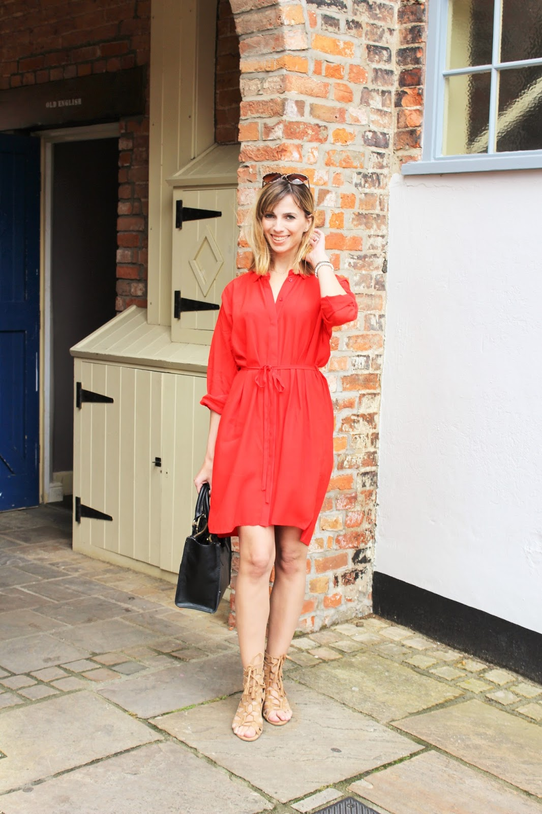 OOTD featuring red Topshop shirt dress