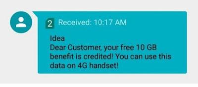 Idea free 10GB Data