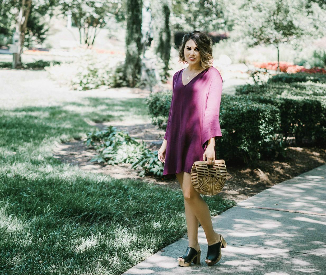 retro look, lush bell sleeve dress, cult gaia bag
