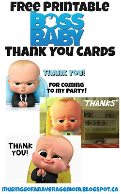 Free printable boss baby thank you cards