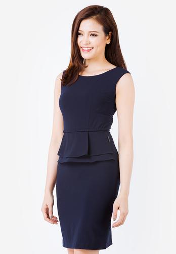 Đầm peplum The One Fashion màu xanh đen ngắn tay