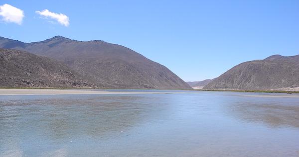 Vista espejo de agua Río Limarí, Región de Coquimbo