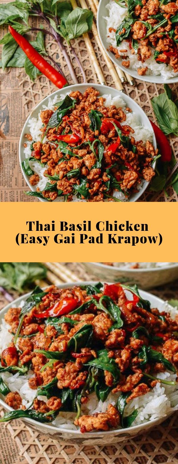 Thai Basil Chicken (Easy Gai Pad Krapow) #basil, chicken, main course #healthy