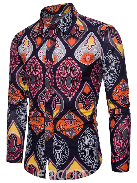 Print Men's Single Breasted PaisleyShirts