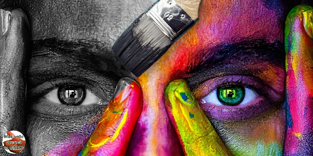 """Header image of the article: """"Art Therapy Benefits For Mental Health Improvement"""". Represents a woman's face with one side sad/worried - not painted; other side happy - painted a art therapy benefit and positive effect."""