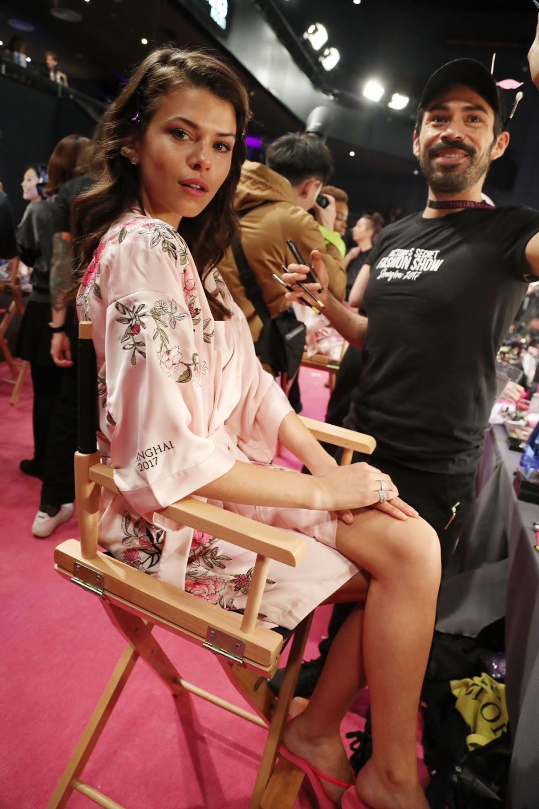 Georgia Fowler on the Backstage at 2017 Victoria's Secret Fashion Show in Shanghai