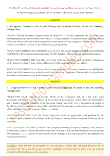 board resolution for appointment of director in casual vacancy