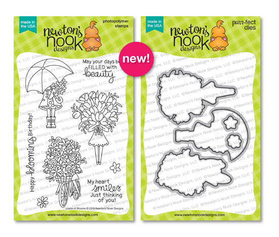 Loads of Blooms | Lady with Spring Flowers Stamp Set by Newton's Nook Designs #newtonsnook