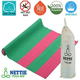 Nettie Organic Rubber Base Handloom Cotton Anti-Skid Yoga Mat