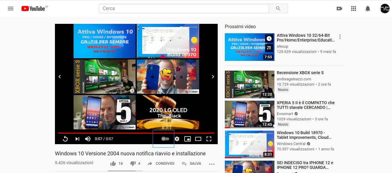 YouTube ottiene il cursore per attivare/disattivare la riproduzione automatica dei video