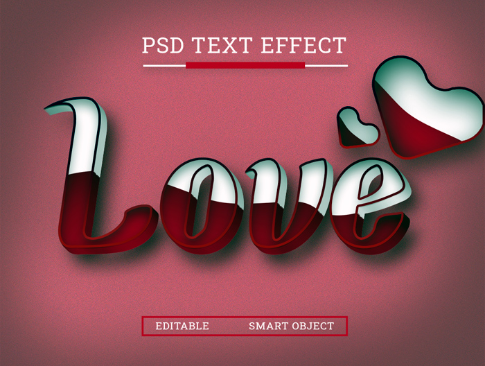 Love 3D Text Style Effect Photoshop