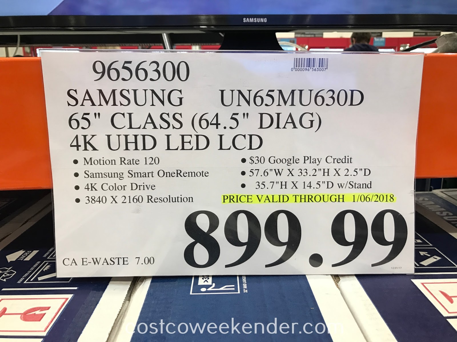 Costco 9656300 - Deal for the Samsung UN65MU630D 65in 4K UHD LED LCD TV at Costco