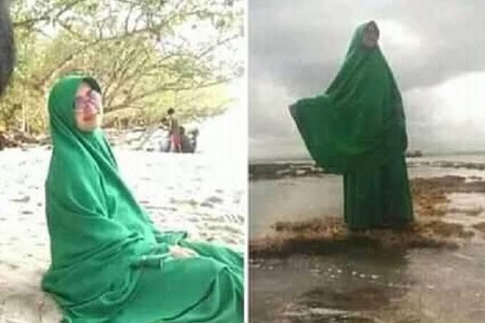 larangan ke pantai pakai baju hijau