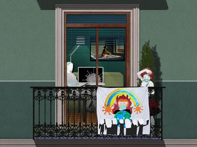 niña, balcon , pancarta, dibujo