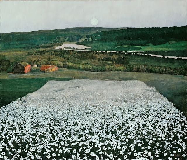 Harald Sohlberg : Pré fleuri près de Roros peintre norvégien néo-romantique