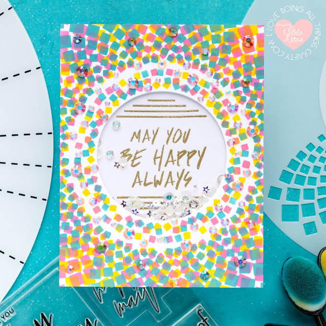 Stencils 360°™, Starter Kit, Penguin Palace,Encouragement Rainbow Cards,Blog Hop,Card Making,Stamping, Die Cutting,handmade card, ilovedoingallthingscrafty, Stamps,distress oxide inks,Ink Blending,Mega Summer Blossom Stencils 360°™