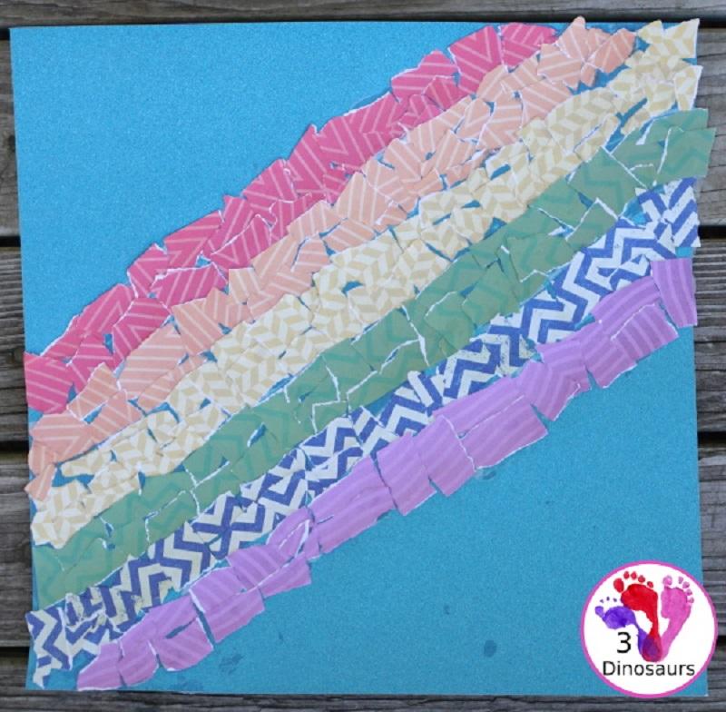 scrap paper rainbow collage