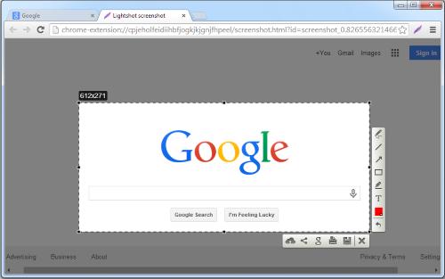 اضافة تصوير الشاشة لمتصفح جوجل كروم سكرين شوت Lightshot