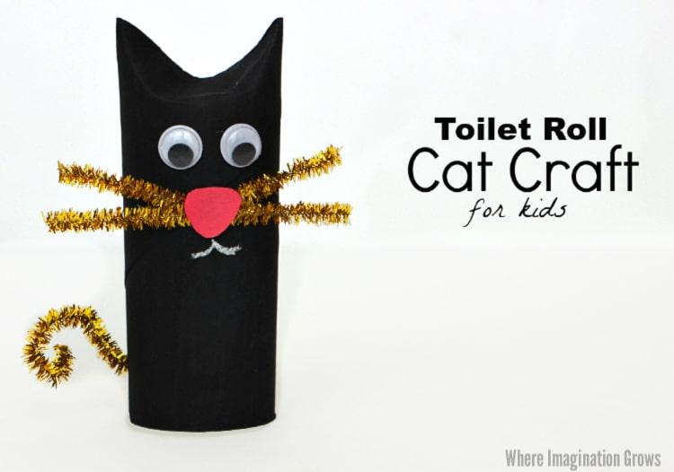 toilet paper roll black cat