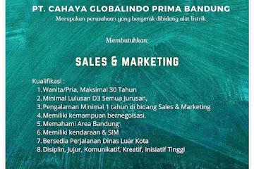 Loker Bandung Sales & Marketing PT Cahaya Globalindo Prima Bandung