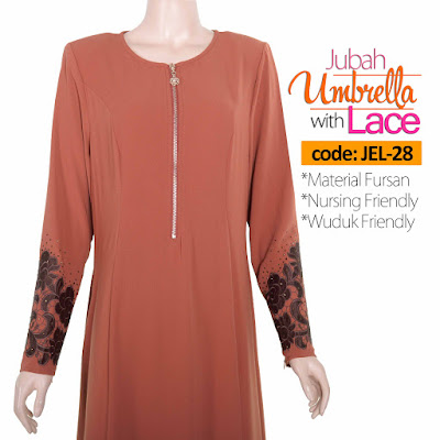 Jubah Umbrella Lace JEL-28 Persian Brown Depan 7