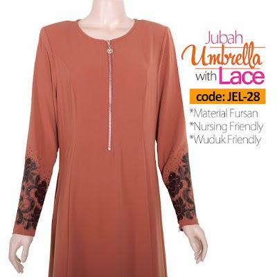 Jubah Umbrella Lace JEL-28 Persian Brown Depan 7