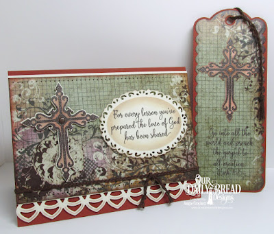 ODBD Sunday School Teacher, ODBD Custom Crosses Dies, ODBD Custom Ornate Ovals Dies, ODBD Custom Deco Border Die, Artistic Outpost Vagabond Treasures Paper Collection, ODBD Custom Bookmarks Dies, Card Designed by Angie Crockett