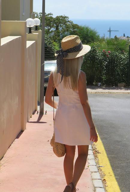Bandana/lazo multiusos de lunares para sombrero de verano