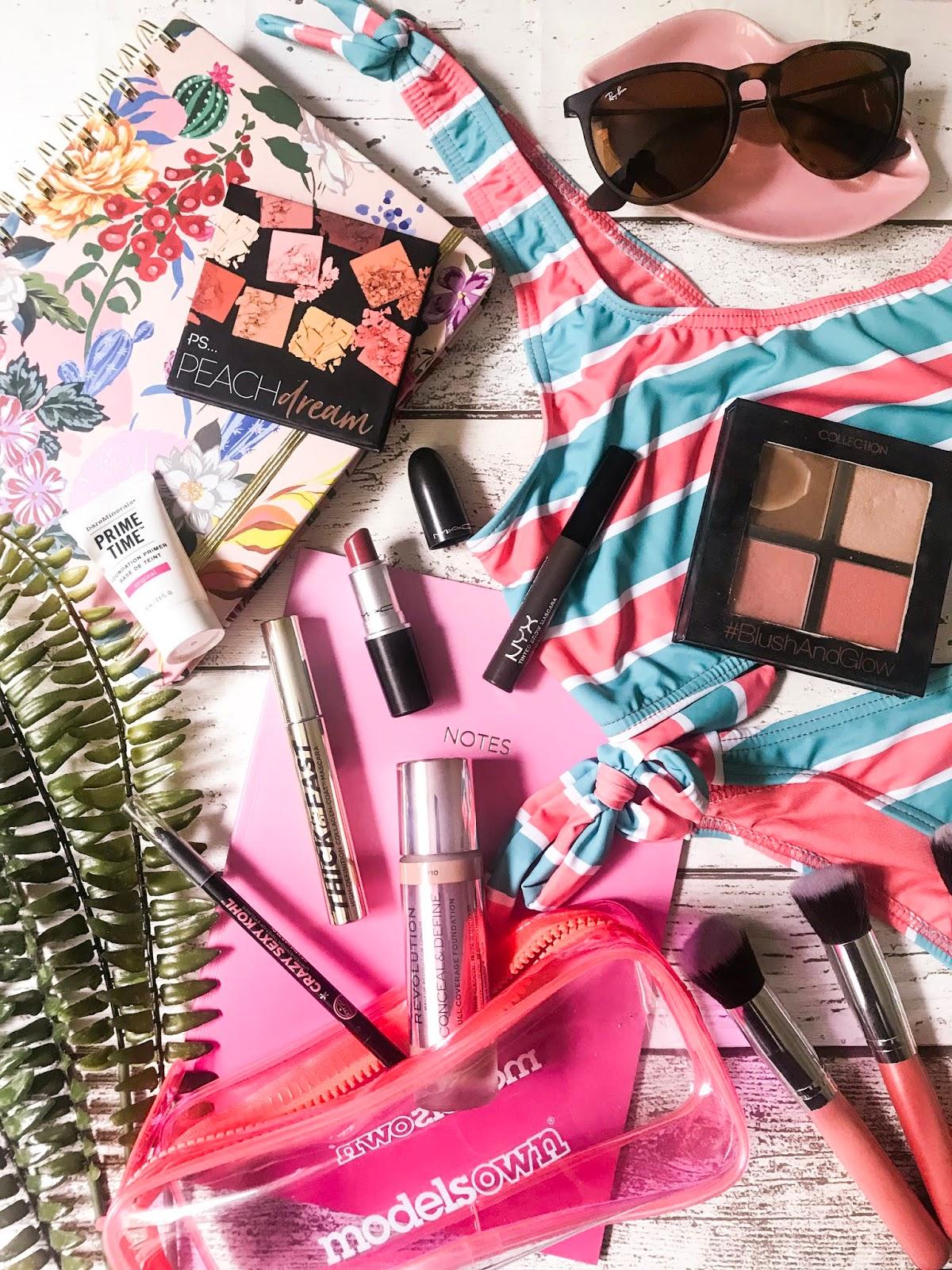 travel makeup bag flatlay