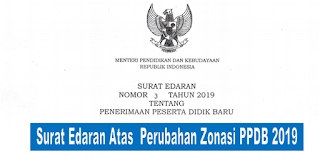 Surat Edaran Mendikbud Nomor 3 Tentang Perubahan Zonasi PPDB 2019 Menjadi 80%