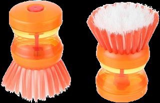 فرشاة بلاستيك للتنظيف بخزان للصابون من الياسين، قطعتين، برتقالي - 7 × 7 سم