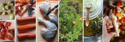 Zubereitung Hähnchenschenkel und Gemüse aus dem Backofen