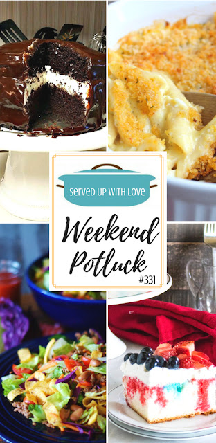 Ding Dong Cake, Creamy Scalloped Chicken Casserole, Catalina Taco Salad, Patriotic Poke Cake, and Pineapple Rum Punch are featured recipes at Weekend Potluck at Served Up With Love.