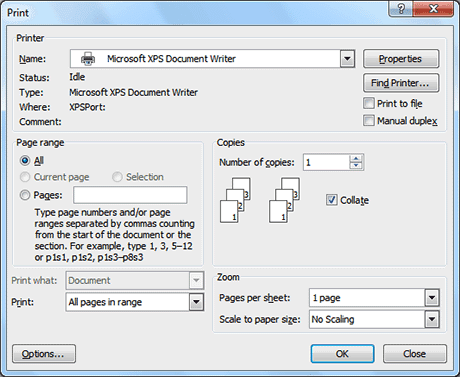 PRINTING A DOCUMENT IN MS WORD